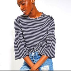 Topshop striped bell sleeve top.